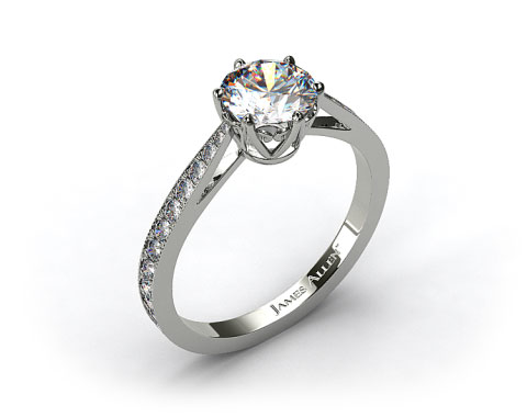 14k White Gold Scroll-Basket Pave Set Diamond Engagement Ring